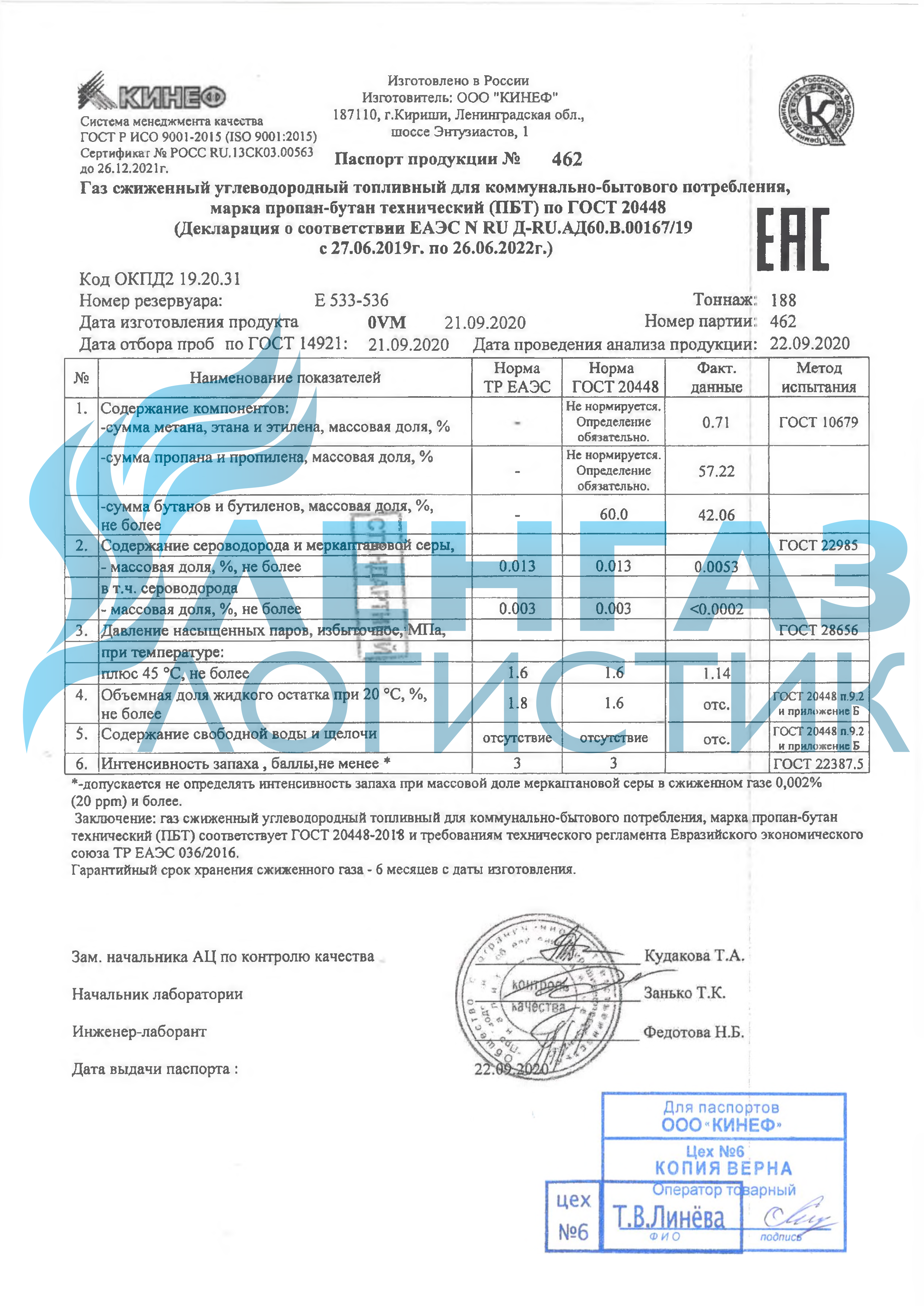 ЛенгазЛогистик Сертификат на газ